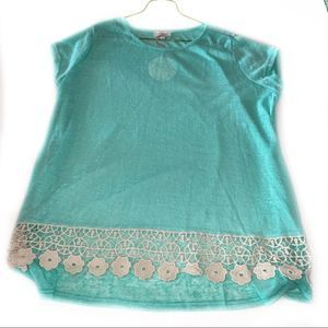 Umgee Large Sea Green Tunic with lace trim NWT